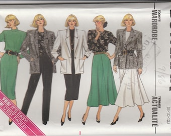 80s Wardrobe Pattern Butterick 4114 Sizes 8 - 12 Uncut