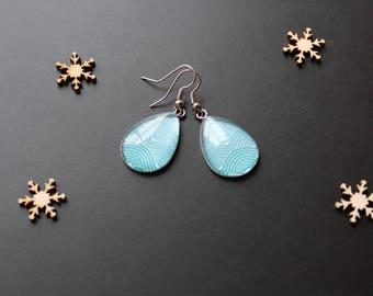 Earring, glass cabochon, Teardrop shape, blue