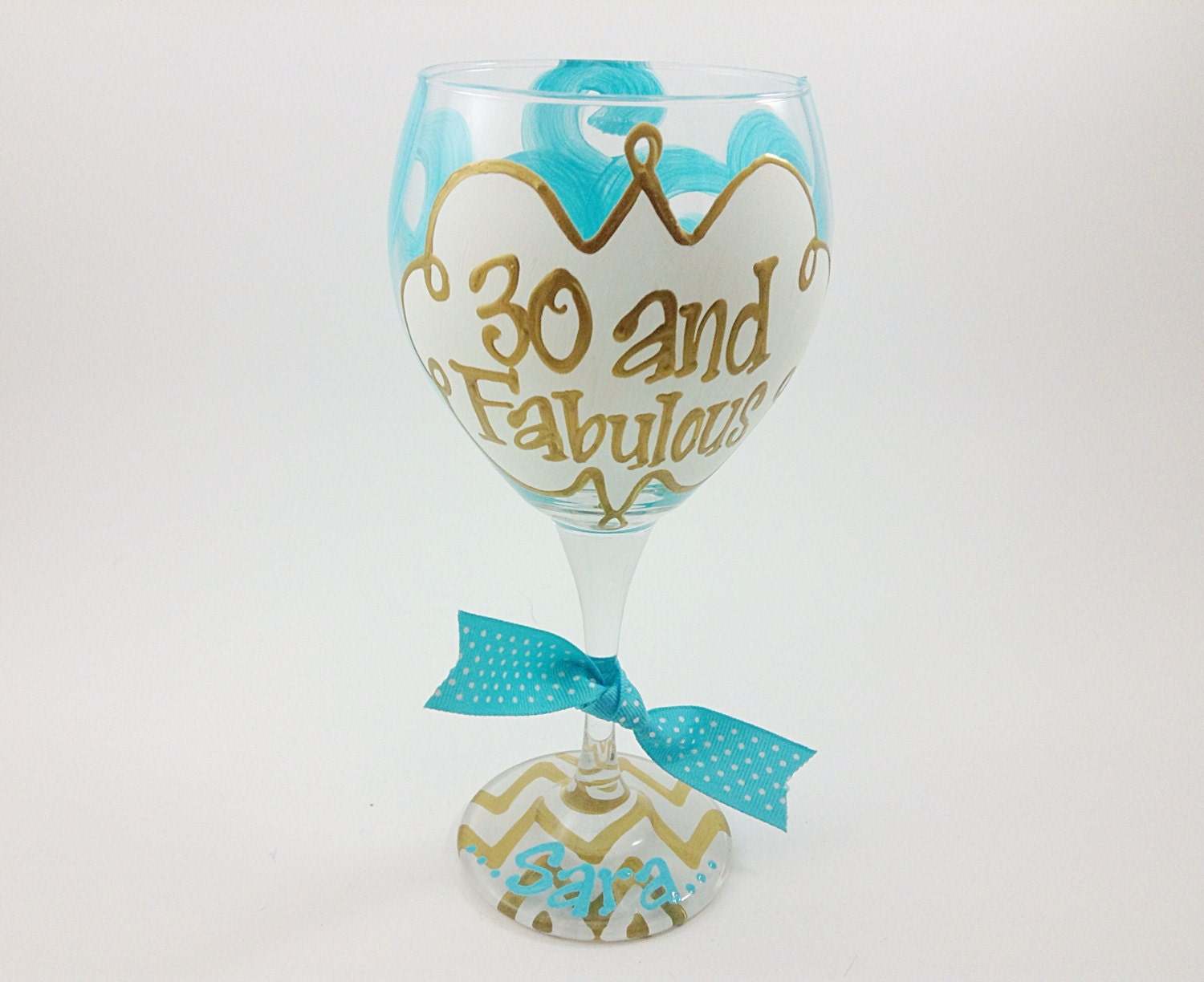 30 and Fabulous Wine Glass Chevron Personalized Custom Name