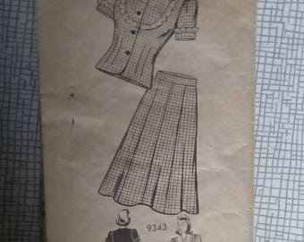 "1940s Suit - 36"" Bust - Marian Martin 9343 - Vintage Sewing Pattern"
