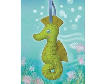 Sewing Kit to create a seahorse felt / creative DIY complete Kit