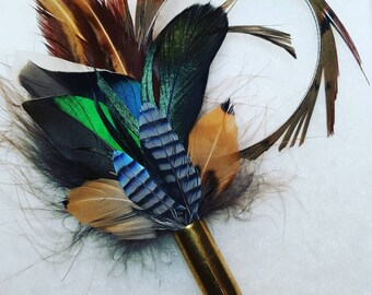 5 Bird Feather Pin or buttonhole for weddings