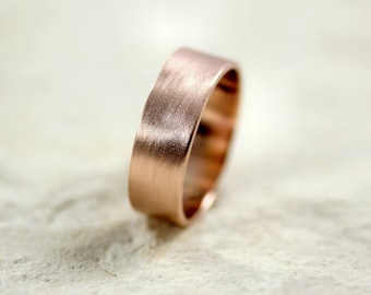 Rose Gold Men's Wedding Band, Brushed Matte Men's 7mm Flat Recycled 14k Rose Men's Gold Ring - Made in Your Size