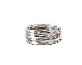 Sterling Silver Ring, Stackable Ring, Stacked Ring, Silver Ring, Ring for Women, Oxidized Silver Ring, Set of 5 rings