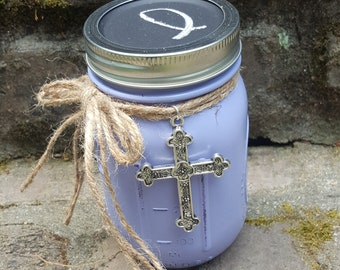 Lavender Scripture Jar with Encouraging Bible Verses, Metal Cross Medallion, Chalkboard Lid