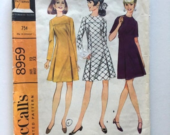 Vintage Sewing Pattern Women's 60's Mostly Uncut, McCall's 8959, Dress, Two Versions (S)