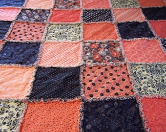 Rag Quilt - Navy and Coral Rag Quilt - Twin Rag Quilt - Modern Rag Quilt - Rag Patchwork Quilt - Twin Patchwork Quilt - Twin Quilt