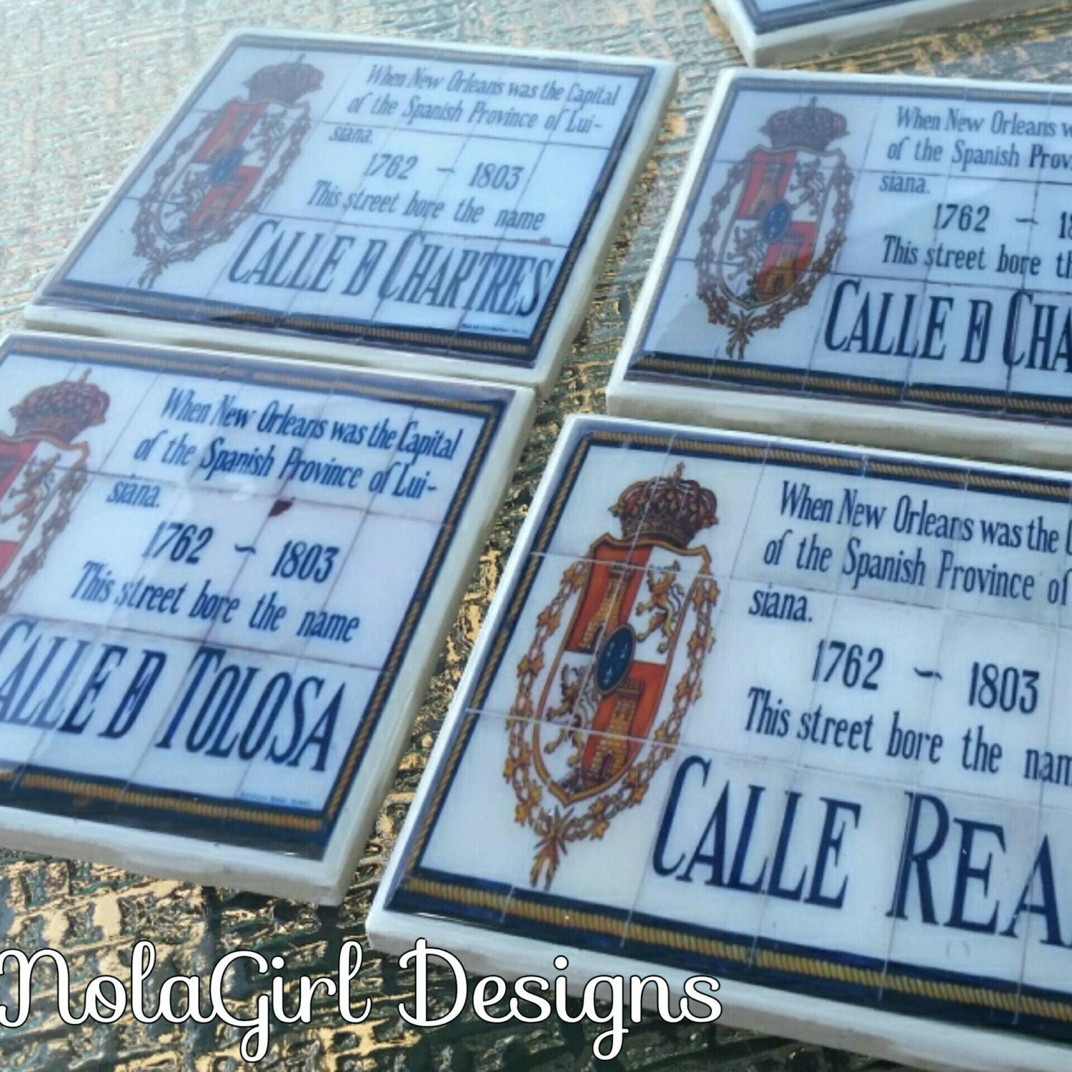 New Orleans, Coaster Set ,French Quarter,Spanish Tile Replicas ...