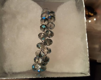 Multi color crystal , woven bracelet