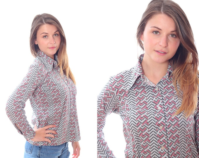 Medium Large 1970s Vintage Gray / Grey Red Striped Blouse 4AA