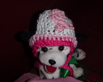 Breast Cancer Awareness hat -Dog or Cat - 2 to 20 lb pets-made to order