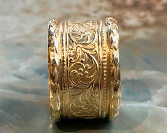 Golden brass band, boho ring, Brass ring, Unisex wedding band, womens ring, vine ring, wide ring, simple ring, lace ring - Believe RK1741