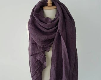 Purple Linen scarf - Oversized Fall scarves - Organic flax clothing - Linen Woman scarf - Big Soft scarf - Pre-washed Linen shawl - Rustic