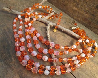 Vintage West Germany orange and off White Crystal Five Strand Bead Necklace