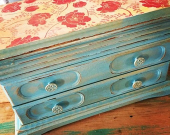 Turquoise Vintage Upcycled Restored Wood Hand Painted Jewelry Box, jewelry storage, gift, birthday gift, bride gift, maps