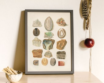 Gem and Mineral Art Print, Boho Home Decorating, Southwest Decor, Gem and Mineral Art, Antique Rock Art Print, Geology Art, Muted Colors