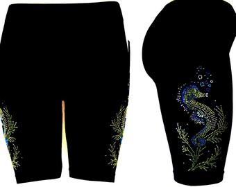 Regular One Size Shorts Embellished Rhinestone Seahorses Active Bike Yoga Sport Shorts