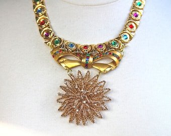 Statement Necklace, Wedding Necklace, Reclaimed, Vintage Necklace, Collar, Gold Bib, Multicolor, Gems, OOAK, Bridal - Over The Rainbow