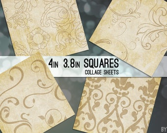 Vintage Paper Patterns 3.8 Inch 4 x 4 Square Digital Collage Sheet Printable Download Scrapbooking Cards Coasters Gift Tags JPG