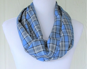 Blue Plaid Infinity Scarf, Women's Fashion Scarf, Circle Scarf, Loop Scarf, Necklace Scarf, Eclectasie