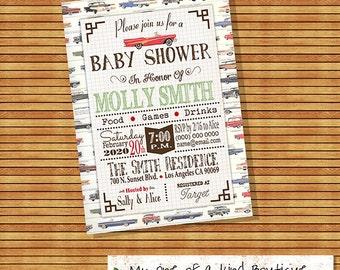 Baby Shower invitation shower party invite old vintage cars shower invite boy shower digital printable invitation you print invite 13432