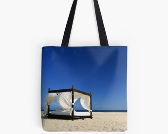 Limited Edition - Ultimate Beach Bliss (summer photo tote bag, blue cloudless sky golden sand cabana Los Cabos Mexico travel photography)