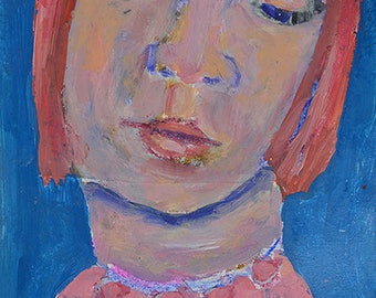 Pink & Blue Girl Portrait Painting Print. Digital Prints. Apartment Wall Print.