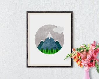 Minimalist Art, Mountain Print, Modern Art Print, Nordic Art, Printable Art, Abstract Art Print, Nature, Geometric Print, Wall Decor, Poster