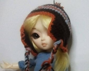 Crocheted earflap hat with pompom, for 1/4 bjd or Hujoo
