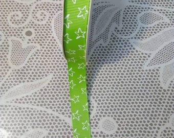 1 m Green Ribbon clear stars, 15 mm wide