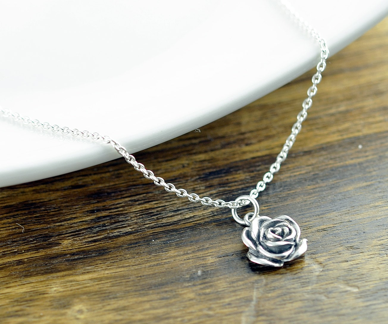 Sterling Silver Rose Necklace Flower