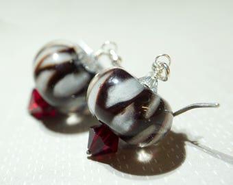 sterling silver earrings and Handmade Boro Lampwork - Eternal Love
