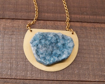 Teal druzy with brass pendant and chain, bohemian jewelry, rustic, organic jewelry, handmade necklace, druzy quartz