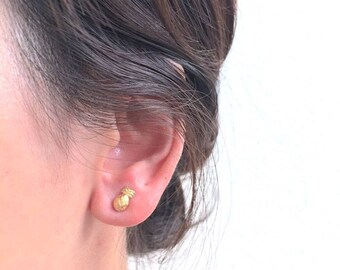 Pineapple Stud Earrings- 925 Sterling Silver, Gold, Rose Gold, Tiny Pineapple earrings, Tropical Earrings, Bridesmaid Gift, Jewelry, Bulk