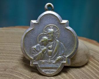 French Religious Medal, Communion Medal, Ricordo Della Comunione, The Catholic Icon, French Religious Pendant. #0207