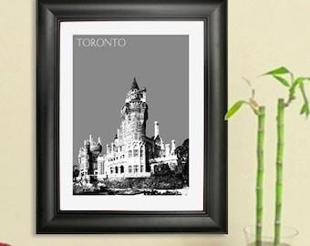 Toronto Skyline Poster #2 - Casa Loma - Toronto Canada Skyline Art Print - 8 x 10 Choose Your Color