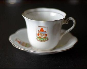 Vintage Taylor & Kent Longton Tea Cup and Saucer Bone China Gold Trim England