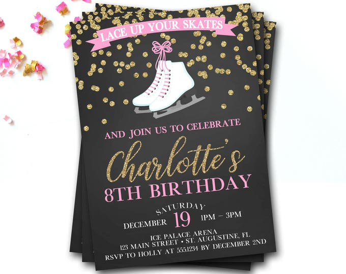 Ice Skating Birthday Invitation, Ice Skating Invite, Ice Skating Party, Winter Birthday Invitation, Ice Skate Invitation, DIY Printable