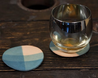 "Indigo Dip Dyed Leather Coasters with Tartan/Plaid Pattern - Set of 4, 3.5"" Across"