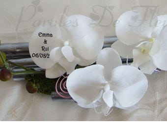 Ring bearer white silver bamboo orchids like to customize
