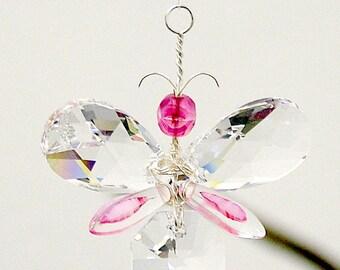 Gift for Mom Pink Butterfly Ornament Swarovski Crystal Suncatcher Gift Wedding Garland Car Charm Rear View Mirror Charm Window Rainbow Maker
