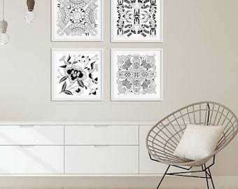 Black and White Wall Art Prints, Set of 4 Bird Flower Art Dining Room Wall Art, Bedroom Wall Art Set, Living Room Square Art, Scandinavian