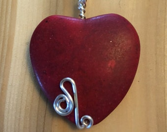 Red Stone Heart Pendant