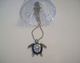 Turtle Pendant Necklace Silver Color with with Blue accents and Clear Rhinestones 28 Inch Nichol Free Silver Color Chain