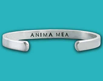 ANIMA MEA - My Soul - Extra Skinny Cuff Bracelet - Hand Stamped Sterling Silver - Latin Motto - Anniversary Gift - Wedding Gift