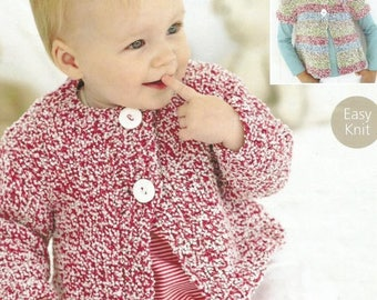 baby knitting pattern for   chunky  girls  cardigan  size 0/3m  to 6 to 7 years