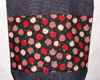 New Large Handmade ABC Country Apples Teacher Denim Tote Bag