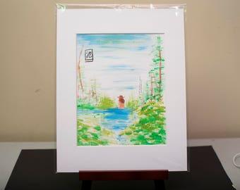 Original Acrylic Painting - Pond - fantasy painting