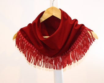 Fringe Cowl, Fringe Scarves, Unique scarf, Fall scarf, fashion scarf, boho scarf, Fall/ Winter Boho scarf, women scarf, soft boho chic scarf