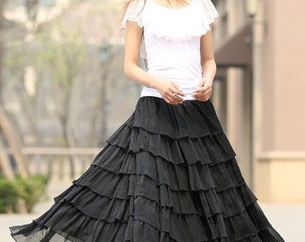Black skirt, long chiffon skirt, long skirt, layered skirt, elastic waist skirt, womens skirts, swing skirt, Custom made skirt, Gift   (939)